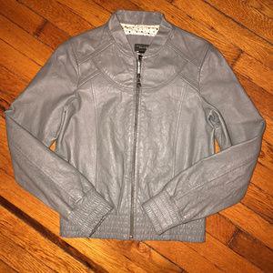 Sanctuary Clothing Grey Leather Bomber Jacket